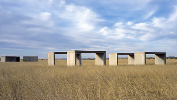 Some of Donald Judd's untitled concrete works (1980-84). Image courtesy Chinati Foundation
