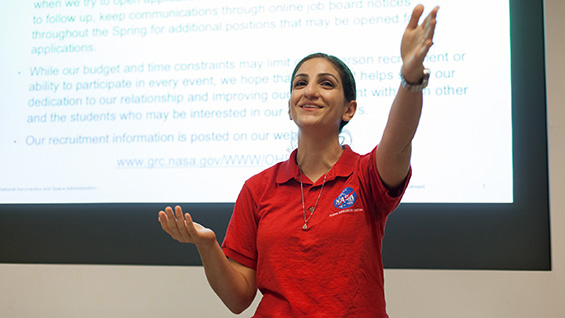 NASA Recruiter Lauren M. Demirjian giving a presentation