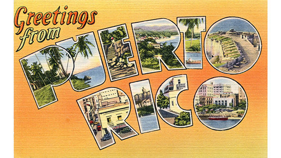 """Greetings from Puerto Rico"" postcard, c. 1940"