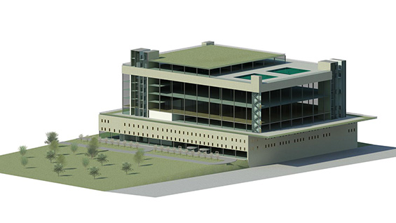 A recreation center with a park and multi-level gym designed as part of Quinee Quintana's senior group project