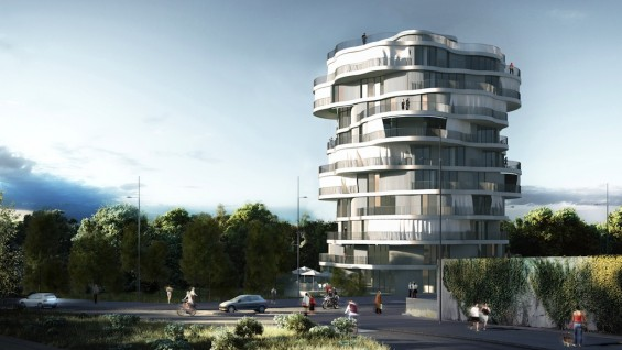 Lot 2, Jardins de la Lironde Montpellier, France | rendering by Farshid Moussavi Architecture