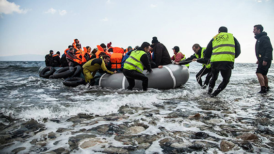 A rescue on the shores of Lesbos. Photos courtesy Helena Zhu
