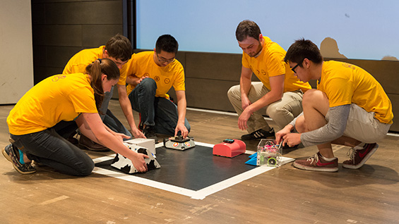 Gearing up for the 2016 robot sumo battle. Photo by Joao Enxuto/The Cooper Union