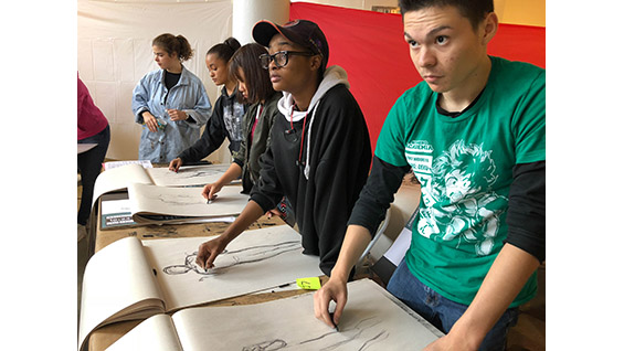 High school students from New York City public schools studying drawing in Cooper's Saturday Program.