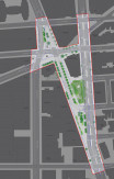 The Astor Place / Cooper Square redesign planning map. Blue lines represent current dimensions