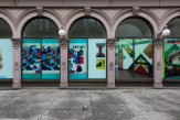 Exterior view of the Milton Glaser retrospective installed in the Colonnade of the Foundation Building