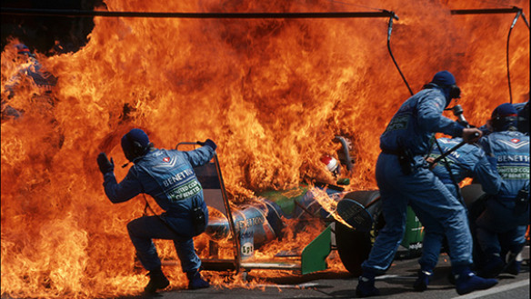 'Narrow Escape—Fire Incident in Hockenheim, German F1 Grand Prix, July 31, 1994' by Arthur Thill/ATP Photo Agency