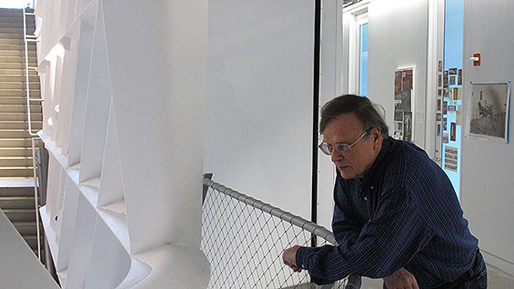 Prof. Brian Swann outside his office