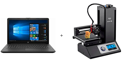 Laptop and 3d printer.
