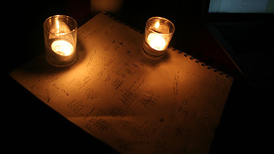 Homework by candlelight (photo courtesy of Patrick Collingwood)