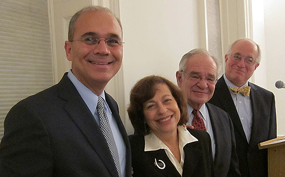 Pres. Bharucha with Ann and Paul Heller in 2011