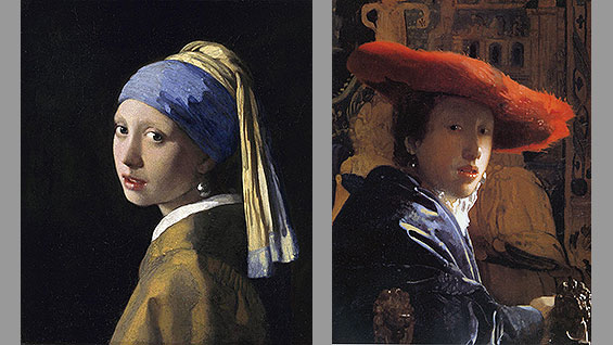 Same painter? Same model? 'The Girl with a Pearl Earring' (c.1665; left) & 'The Girl with the Red Hat' (c.1665-6)