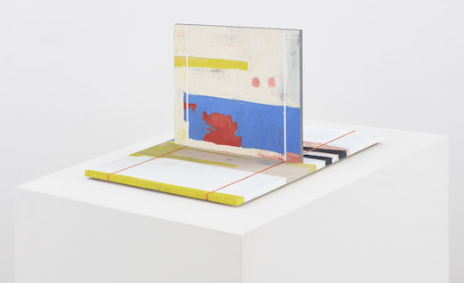 Harold Ancart, Untitled, 2018, Oil stick on plywood, pedestal.  17 1/4 x 24 x 36 inches (44 x 61 x 91.5 cm)