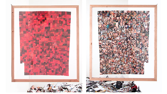 'Red Field' (front and back view). Elzie Williams. Paper collage. Images courtesy of the artist